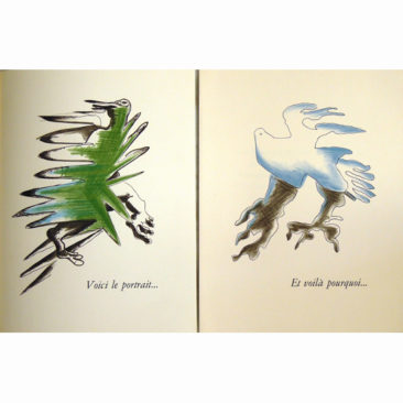 Claude Lemand C21  Ossip Zadkine Portrait de l'Oiseau-Qui-N'Existe-Pas et Autre Poèmes - Ossip ZADKINE - Claude AVELINE - Livre d'artiste, en feuilles, sous couverture et étui, 25 x 33 cm. Poèmes de Claude Aveline, accompagnés de 18 lithographies originales d'Ossip Zadkine. Paris/Genève, 1965. Livre numéroté et signé par l'artiste et l'auteur. 10% reversés à Dessine l'Espoir sur la vente de 18 exemplaires sur la foire.