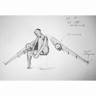Erarta Galleries G1  Dmitry Shorin  Preparatory Drawing for Angel no. 4 - 2012 - Print and graphite on paper - 42 x 30 cm - Illustration framed - 20% reversés à Dessine l'Espoir en cas de vente sur la foire.