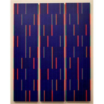 Galerie Lahumière D15  Claude Pasquer  Partition Verticale n°174 IX - 2011 - Acrylique sur toile - Tryptique 120 x 100 - 30% reversés à Dessine l'Espoir en cas de vente sur la foire.