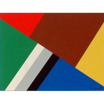 Galerie Lahumière D15  Jean Legros (1917-1981) La Plaine en toute Saison - Acrylique sur papier et collage - 1978 - 28 x 37,7 - 30% reversés à Dessine l'Espoir en cas de vente sur la foire.